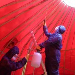 Fireproofing the tent - Sarah and Sam